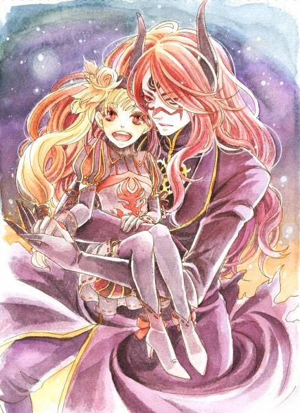 Tags: Anime, Chiyo (Pixiv53622), Shaytan (Sound Horizon), Layla (Sound Horizon), Mobile Wallpaper, Pixiv, Seisen no Iberia, Sound Horizon