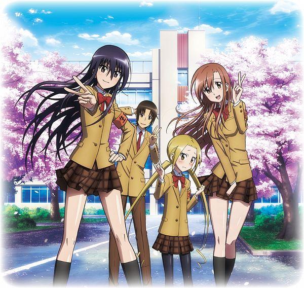 Tags: Anime, GoHands, Seitokai Yakuindomo, Tsuda Takatoshi, Shichijou Aria, Hagimura Suzu, Amakusa Shino, Official Art, Student Council Staff Members