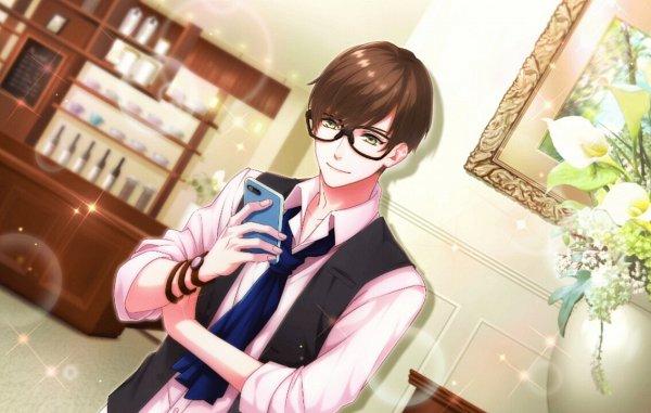 Tags: Anime, B-Project, Sekimura Mikado, Leaning On Wall, Vase, CG Art