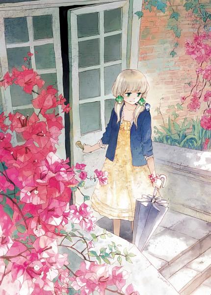 Tags: Anime, Selina (Pixiv403217), Closed Umbrella, Bougainvillea (Flower), Mobile Wallpaper, Pixiv, Original