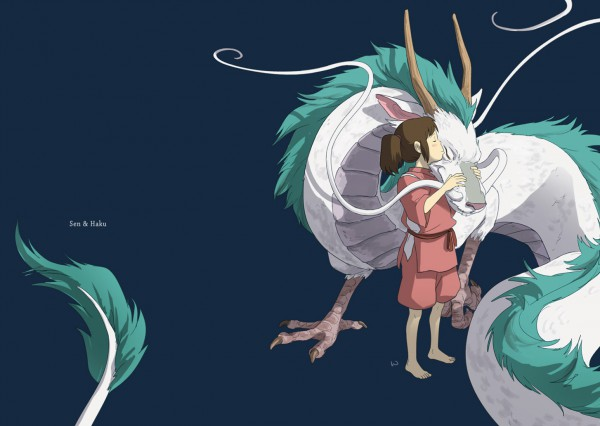 Tags: Anime, Wrat, Sen to Chihiro no Kamikakushi, Haku (Sen to Chihiro no Kamikakushi), Ogino Chihiro, Haku (Dragon), Chinese Dragon, Fanart, Pixiv, Spirited Away