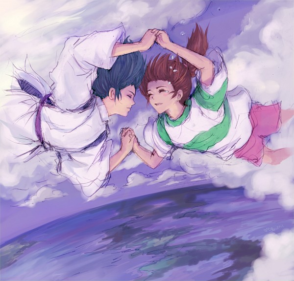 Tags: Anime, Turtlequeen, Sen to Chihiro no Kamikakushi, Haku (Sen to Chihiro no Kamikakushi), Ogino Chihiro, Pink Shorts, Fanart, Spirited Away