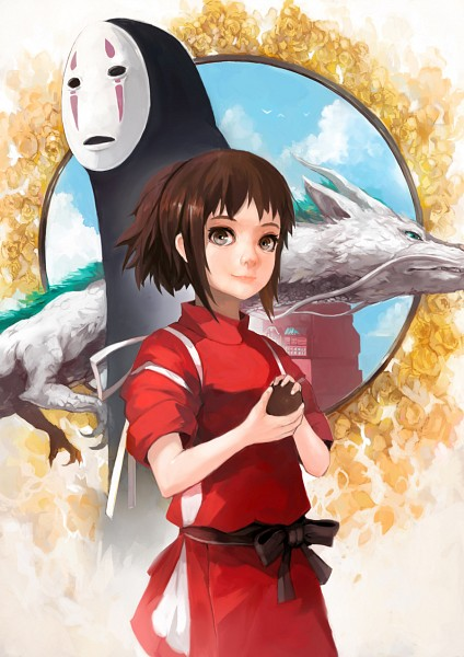 Tags: Anime, Alchemaniac, Sen to Chihiro no Kamikakushi, Haku (Dragon), Kaonashi, Ogino Chihiro, Haku (Sen to Chihiro no Kamikakushi), Mobile Wallpaper, Spirited Away