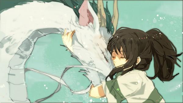 Tags: Anime, Ari 2e3, Studio Ghibli, Sen to Chihiro no Kamikakushi, Haku (Sen to Chihiro no Kamikakushi), Ogino Chihiro, Haku (Dragon), Chinese Dragon, Hugging Animal, Facebook Cover, Fanart, Pixiv, Spirited Away