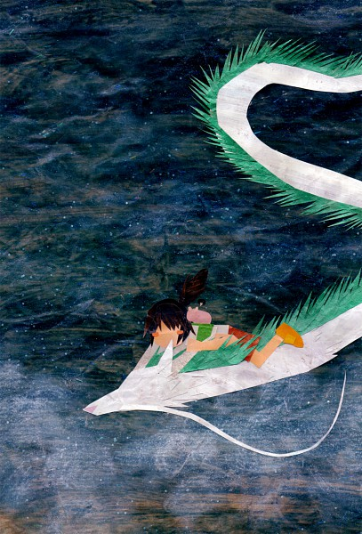 Tags: Anime, Botjira, Sen to Chihiro no Kamikakushi, Haku (Dragon), Ogino Chihiro, Haku (Sen to Chihiro no Kamikakushi), Mobile Wallpaper, Spirited Away