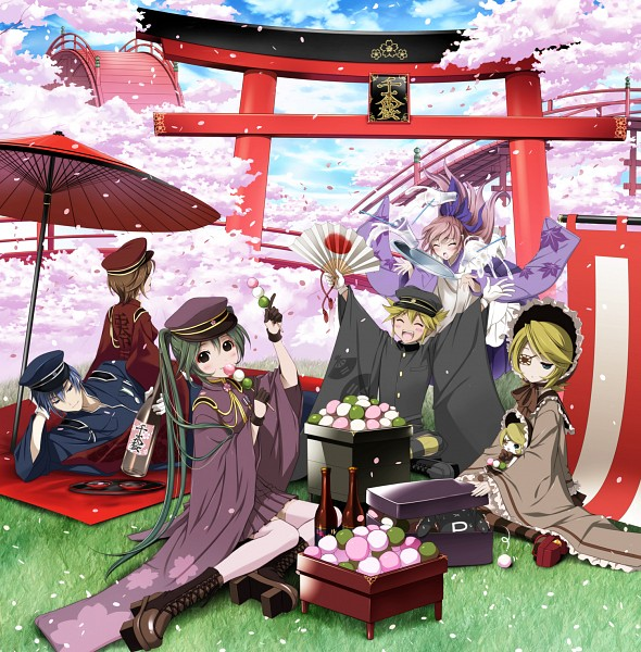 Tags: Anime, Itto Maru, Project DIVA F, VOCALOID, KAITO, Kagamine Len, Kagamine Rin, MEIKO (VOCALOID), Megurine Luka, Hatsune Miku, Fanart, Pixiv, Project DIVA Ichi no Sakura: Blossom, Thousand Cherry Blossoms
