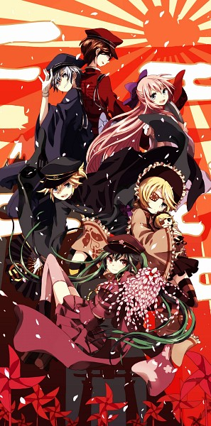 Tags: Anime, Pixiv Id 3216712, Project DIVA F, VOCALOID, MEIKO (VOCALOID), Megurine Luka, Hatsune Miku, KAITO, Kagamine Len, Kagamine Rin, Rising Sun Motif, General, Project DIVA Ni no Sakura: Butterfly, Thousand Cherry Blossoms