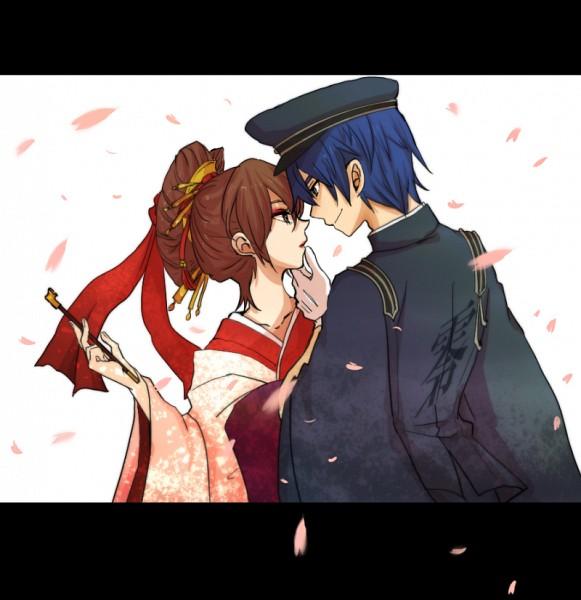 Tags: Anime, Pixiv Id 791851, Project DIVA F, VOCALOID, MEIKO (VOCALOID), KAITO, Project DIVA Rei no Sakura: Camellia, Senbonzakura (Song), Project DIVA Rei no Sakura: Azure Snow, Thousand Cherry Blossoms