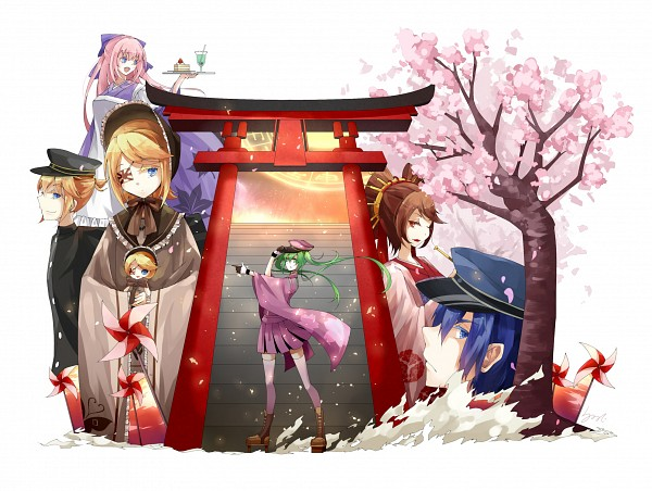 Tags: Anime, Lyodi, VOCALOID, Kagamine Rin, MEIKO (VOCALOID), Megurine Luka, Hatsune Miku, KAITO, Kagamine Len, Pinwheel, Rising Sun Motif, Senbonzakura (Song), Thousand Cherry Blossoms