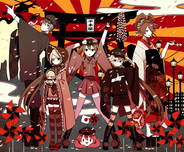 Tags: Anime, 50 Yen, VOCALOID, Kagamine Len, Kagamine Rin, Takoluka, MEIKO (VOCALOID), Hatsune Miku, KAITO, Helicopter, Egasumi, Pinwheel, Badge, Thousand Cherry Blossoms