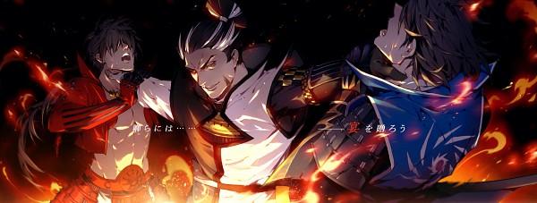 Tags: Anime, Pixiv Id 657096, Sengoku Basara, Sanada Yukimura (Sengoku Basara), Date Masamune (Sengoku Basara), Matsunaga Hisahide (Sengoku Basara), Choking, Hand on Neck, Fanart, Pixiv, Fanart From Pixiv, Devil Kings