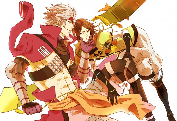Tags: Anime, Yona (Pixiv 900264), Sengoku Basara, Motochika Chosokabe (Sengoku Basara), Mori Motonari (Sengoku Basara), Pixiv, Fanart, Devil Kings