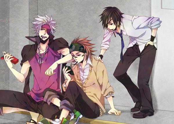 Tags: Anime, Pixiv Id 1034630, Gakuen Basara, Sengoku Basara, Sarutobi Sasuke, Motochika Chosokabe (Sengoku Basara), Date Masamune (Sengoku Basara), Fanart, Pixiv, Devil Kings