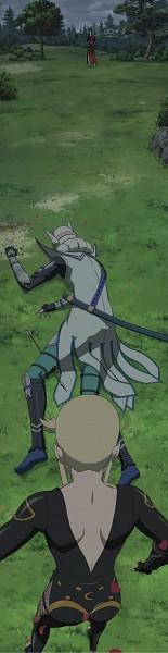 Tags: Anime, Sengoku Basara, Uesugi Kenshin (Sengoku Basara), Nouhime (Sengoku Basara), Kasuga, Stitched Screenshot, Screenshot, Devil Kings