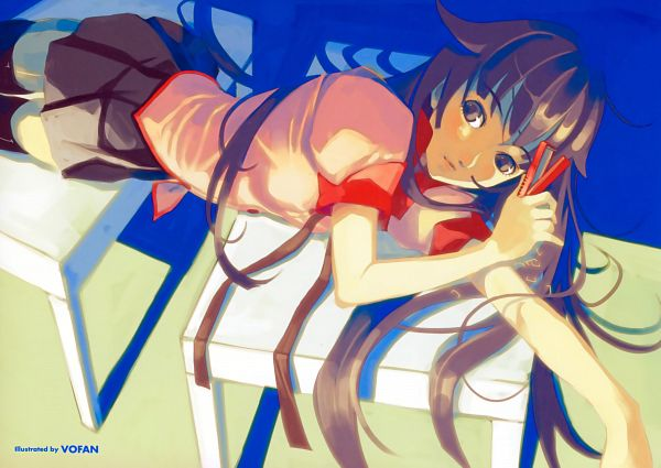 Tags: Anime, Shaft (Studio), Monogatari, Senjougahara Hitagi, Scan, Official Art