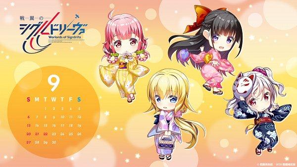Tags: Anime, Fujima Takuya, A-1 Pictures, Senyoku no Sigrdrifa, Claudia Bruford, Watarai Sonoka, Komagome Azuzu, Muguruma Miyako, Festival, Calendar (Source), Official Wallpaper, Calendar 2020, Wallpaper, Warlords Of Sigrdrifa