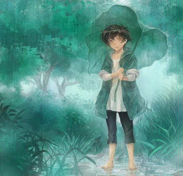 Tags: Anime, Pixiv Id 10966, Mobile Suit Gundam 00, Setsuna F. Seiei, Leaf Umbrella, Pixiv, Gundam Meisters