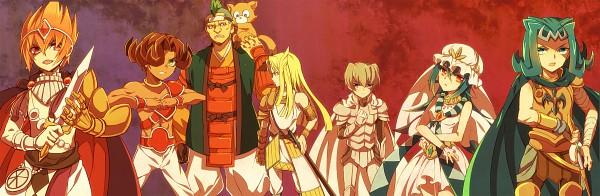 Tags: Anime, Pixiv Id 8349409, Yu-Gi-Oh! ZEXAL, Kamishiro Rio, Mizael, Alito, Kamishiro Ryoga, Vector (Yu-Gi-Oh! ZEXAL), Durbe, Shingetsu Rei, Girag, Twitter Header, Fanart