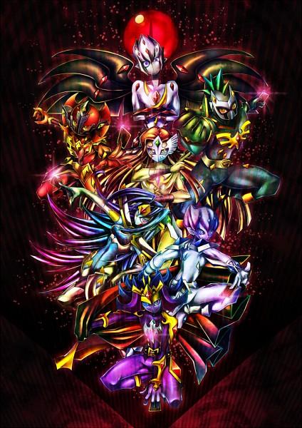 Tags: Anime, Ninomae, Yu-Gi-Oh!, Yu-Gi-Oh! ZEXAL, Mizael, Kamishiro Ryoga, Alito, Vector (Yu-Gi-Oh! ZEXAL), Durbe, Kamishiro Rio, Girag, Mouthless, Fanart