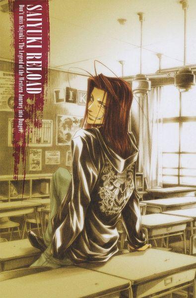 Tags: Anime, Kazuya Minekura, Saiyuki, Sha Gojyo, Sitting On Table, Official Art, Scan, Mobile Wallpaper