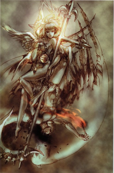 Tags: Anime, Shadow Hearts, Yuri Hyuga, Alice Elliot, Crucifix, Mobile Wallpaper