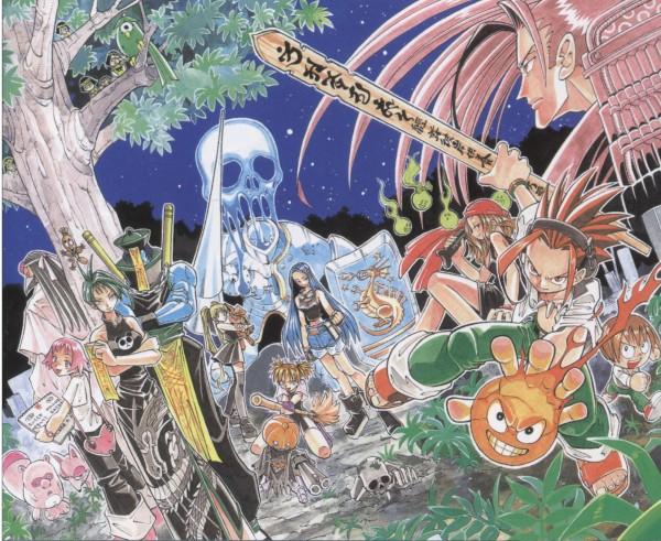 Tags: Anime, Hiroyuki Takei, Shaman King, Tamamura Tamao, Tao Jun, Oyamada Manta, Amidamaru, Kyouyama Anna, Asakura Yoh, Lee Pyron, Official Art, Scan
