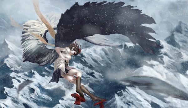 Tags: Anime, Akaikitsune, Touhou, Shameimaru Aya, Descending, Gray Sky, Fanart From Pixiv, Fanart, Pixiv, Wallpaper, Aya Shameimaru