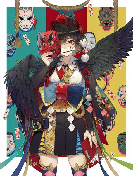 Tags: Anime, Ekita_Kuro, Touhou, Shameimaru Aya, Bridal Gauntlets, Tengu Mask, Ink, Kourindou Tengu Costume, Pixiv, Fanart From Pixiv, Mobile Wallpaper, Fanart, Aya Shameimaru