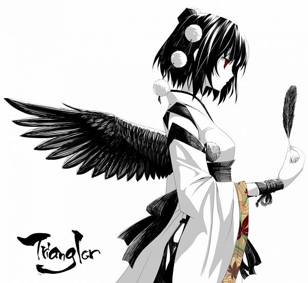 Tags: Anime, Akeboshi Kagayo, Triangler, Touhou, Shameimaru Aya, Nihonga, Wide View, Kourindou Tengu Costume, Pixiv, PNG Conversion, Fanart, Aya Shameimaru