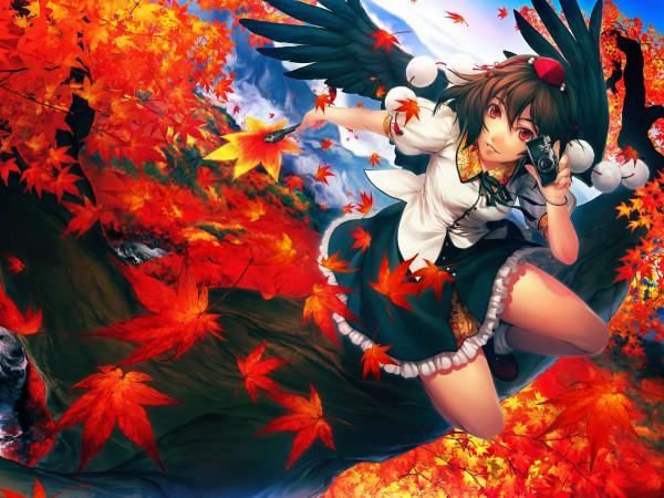 Tags: Anime, Simosi, Touhou, Shameimaru Aya, Fanart From Pixiv, Fanart, Pixiv, Wallpaper, Aya Shameimaru