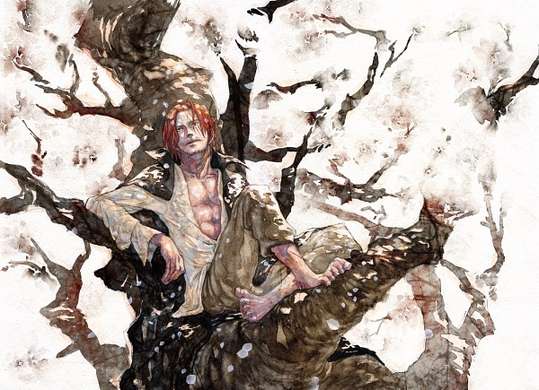 Tags: Anime, Kusaco Icca, ONE PIECE, Shanks, Watercolor, Fanart, Traditional Media, Pixiv, Fanart From Pixiv, Yonkou
