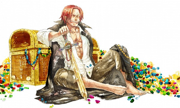 Tags: Anime, Kusaco Icca, ONE PIECE, Shanks, Gold (Metal), Treasure Chest, Treasure, Watercolor, Traditional Media, Red Hair Pirates