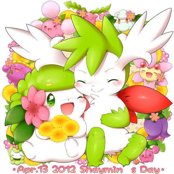Tags: Anime, Aimi (Pixiv397331), Pokémon, Hoppip, Cherrim, Cottonee, Shaymin, Cherubi, Jumpluff, Petilil, Fanart From Pixiv, Pixiv, Legendary Pokémon