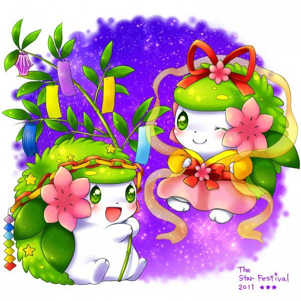 Tags: Anime, Aimi (Pixiv397331), Pokémon, Shaymin, Paper Chain, Tanabata, Legendary Pokémon, Pixiv, Fanart, Fanart From Pixiv