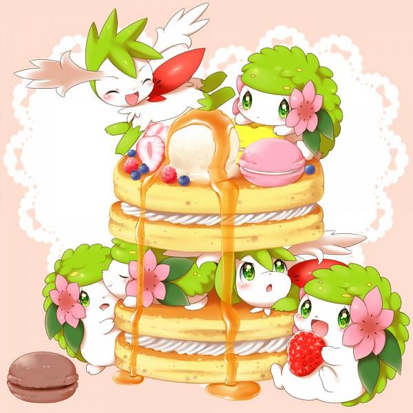 Tags: Anime, Aimi (Pixiv397331), Pokémon, Shaymin, Raspberries, Berry, Pancakes, Legendary Pokémon