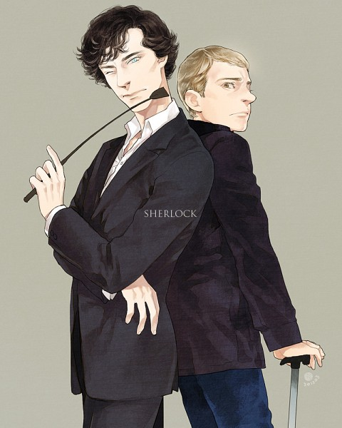 Tags: Anime, Suzuki Tsuta, Sherlock BBC, Sherlock Holmes, Dr. John Watson, Sherlock Holmes (Character), Riding Crop, Fanart, Fanart From Pixiv, Pixiv
