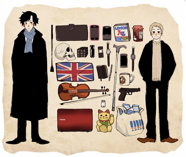 Tags: Anime, Sherlock BBC, Sherlock Holmes, Dr. John Watson, Sherlock Holmes (Character), Martin Freeman (Actor), Benedict Cumberbatch (Actor), Milk, Cube, Magnifying Glass, Maneki Neko, Beige Background, Jam