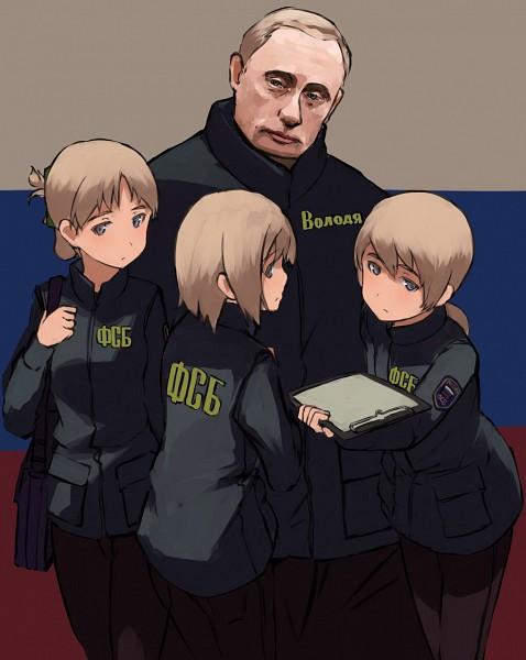 Tags: Anime, Shibafu, Vladimir Putin, Flag Background, Pixiv