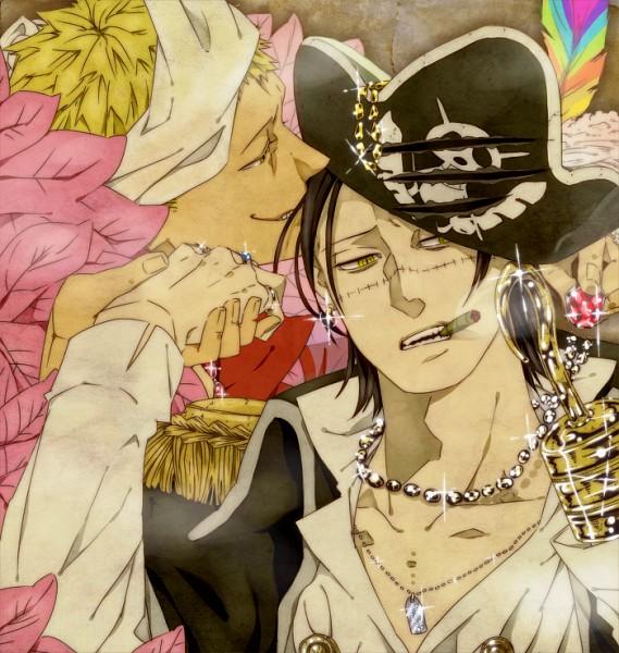 Tags: Anime, Pixiv Id 1515729, ONE PIECE, Donquixote Doflamingo, Sir Crocodile, Skull And Crossbones, Cigar, Hook (Hand), Fanart, Pixiv, Fanart From Pixiv, Shichibukai