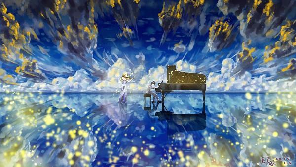 Tags: Anime, Koiniochiru, Shigatsu wa Kimi no Uso, Arima Kousei, Miyazono Kaori, Gray Jacket, Water Reflection, Bright Colors, Walking On Water, Sphere, Playing Violin, Gray Outfit, Playing Piano, Your Lie In April