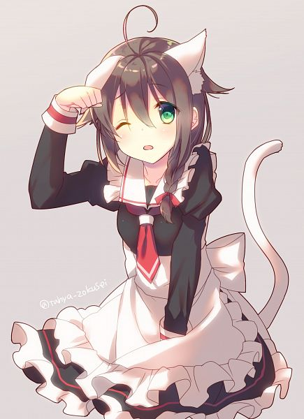 Tags: Anime, Tahya, Kantai Collection, Shigure (Kantai Collection), Cat Day, Fanart, Mobile Wallpaper, Fanart From Pixiv, PNG Conversion, Pixiv, Revision