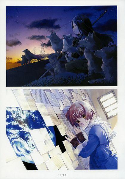 Tags: Anime, Shiina Yuu, Garnet - You Shiina's Illustrations, Sunrise, Utility Pole, Scan