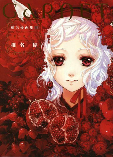 Tags: Anime, Shiina Yuu, Garnet - You Shiina's Illustrations, Pomegranate, Blueberry, Mobile Wallpaper, Scan, Artbook Cover, Original