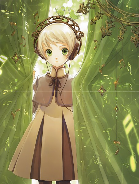 Tags: Anime, Shiina Yuu, Garnet - You Shiina's Illustrations, Headphone Girls: A Pictorial Book, Curious, Brown Dress, Scan