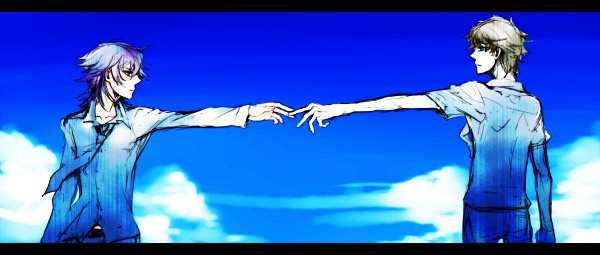 Tags: Anime, Shiki, Mutou Toru, Koide Natsuno, Touching Fingers, Facebook Cover, Artist Request