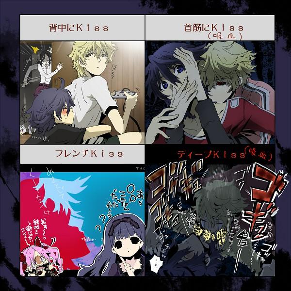 Tags: Anime, Pixiv Id 1456963, Shiki, Kirishiki Sunako, Koide Natsuno, Murasako Masao, Shimizu Megumi, Mutou Toru, Kiss On The Neck, Kiss Chart, Pixiv