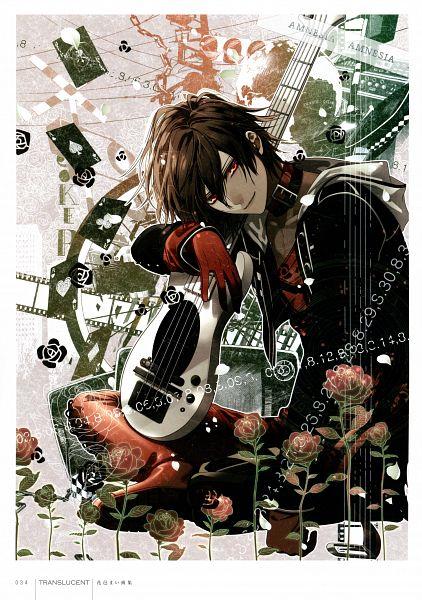 Tags: Anime, Hanamura Mai, IDEA FACTORY, AMNESIA, Shin (AMNESIA), Bass Guitar, Scan, Official Art, Mobile Wallpaper