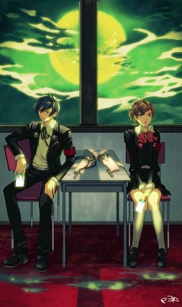 Tags: Anime, Nishi Juuji, Persona 3 Portable, Shin Megami Tensei: PERSONA 3, Female Protagonist (PERSONA 3), Yuuki Makoto (PERSONA 3), Dark Hour, Fanart, Mobile Wallpaper, Fanart From Pixiv, Pixiv