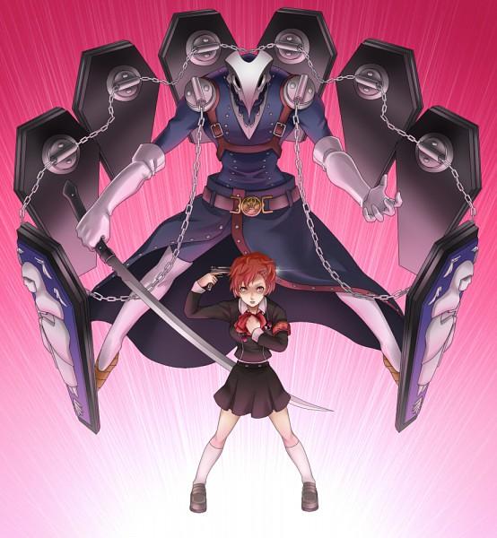 Tags: Anime, Kamakiri, Persona 3 Portable, Shin Megami Tensei: PERSONA 3, Female Protagonist (PERSONA 3), Thanatos (PERSONA), Aiming At Own Head, Evoker, Pixiv