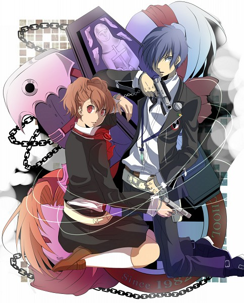 Tags: Anime, Kazanami, Persona 3 Portable, Shin Megami Tensei: PERSONA 3, Thanatos (PERSONA), Female Protagonist (PERSONA 3), Yuuki Makoto (PERSONA 3), Orpheus (PERSONA), Evoker, Coffin, Pixiv, Fanart